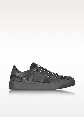 Jimmy Choo Ace Black Camo Fabric Mix Low Top Sneakers