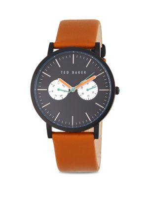 Ted Baker Round Leather Strap Watch In Tan