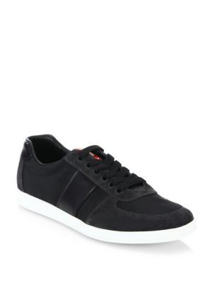 Prada Men's Linea Rossa Nylon Low-Top Sneakers With Leather & Suede In Asfalto
