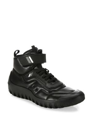 Prada Colorblock Leather & Nylon Short Hiking Boot, Black