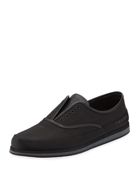 Prada Laceless Slip-On Tennis Shoe, Black