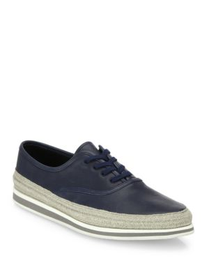 Prada Nappa Leather Espadrille Sneakers In Blue