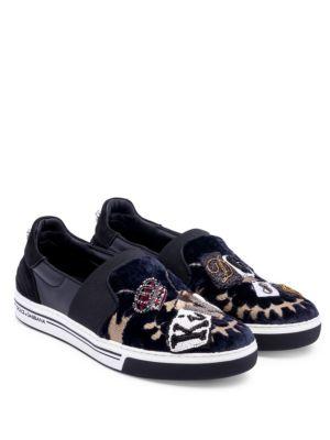 Dolce & Gabbana Embroidered Velvet Slip-On Sneakers In Dark Blue