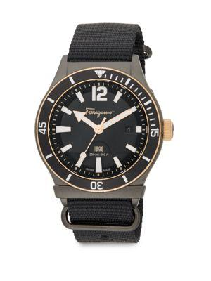 Salvatore Ferragamo Round Stainless Steel Watch In Black