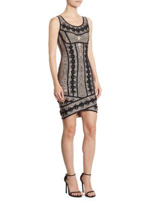 Herve Leger Eyelet-Embellished Jacquard-Knit Mini Dress In Bare Combo
