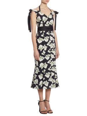Cinq À Sept Blakely Floral-Print Mermaid Midi Dress, Black Multi