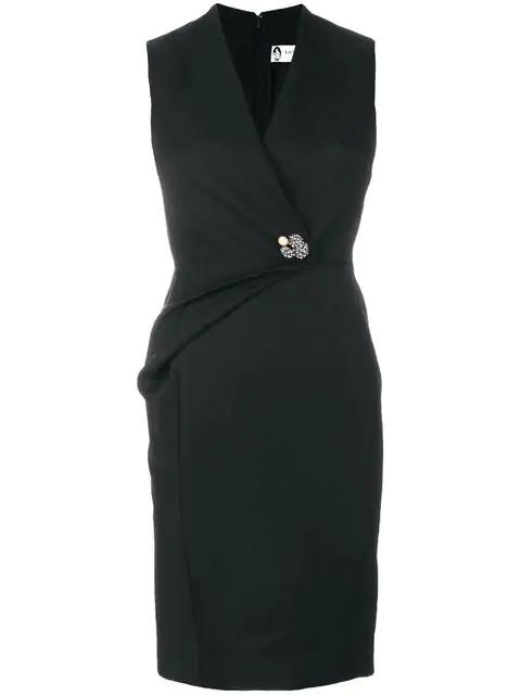 Lanvin Swarovski Crystal Brooch Pleated Wool Twill Dress In Black