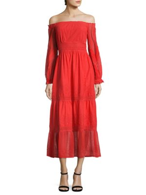 Kobi Halperin Tessa Off-The-Shoulder Embroidered Cotton Dress, Red In Flame