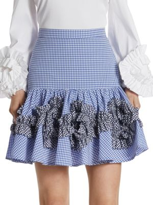 Alexis Daly Ruffle Gingham Cotton Skirt In Blue Gingham