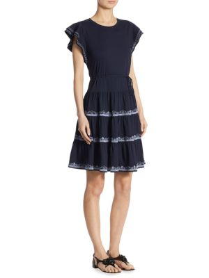 Tory Burch Caterina Tiered Ruffle Dress In Tory Navy