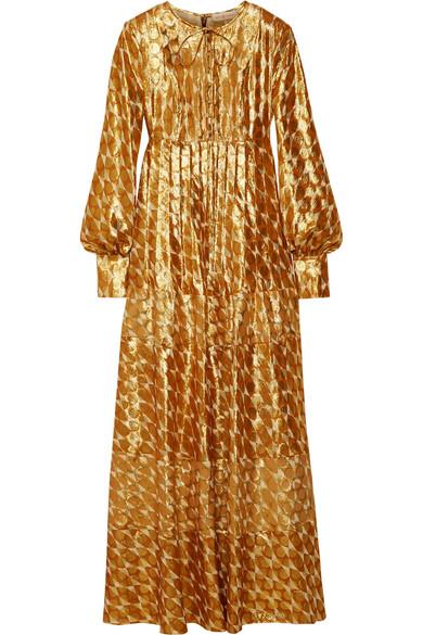 Tory Burch Bea Metallic Silk-Blend Jacquard Gown In Gold