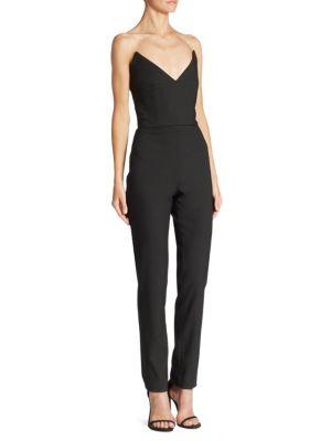 Oscar De La Renta Strapless Stretch-Wool Jumpsuit W/Metallic Flower Pin In Black