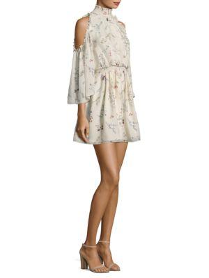Rachel Zoe Meade Cold-Shoulder Floral-Print Silk-Chiffon Mini Dress In Ivory