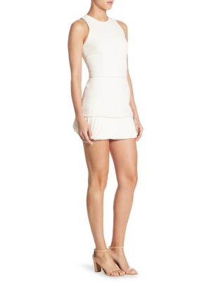 Brandon Maxwell Sleeveless Layered Petal-Hem Dress, Ivory