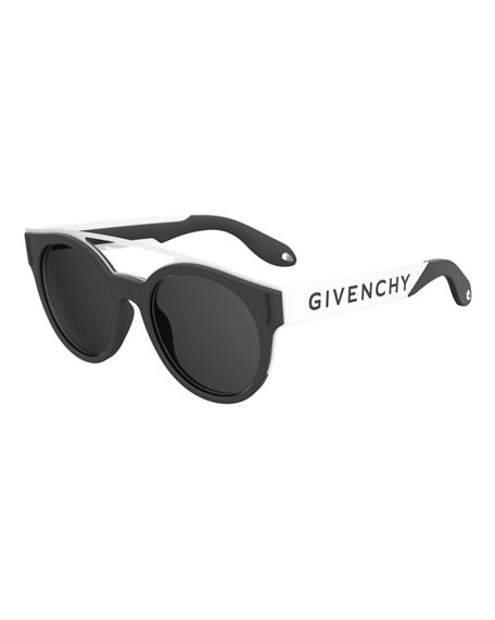 Givenchy Stainless Steel & Rubber Round Logo Sunglasses In Black/White