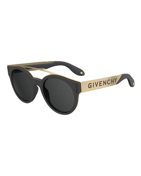 Givenchy Stainless Steel & Rubber Round Logo Sunglasses In Black/Gold