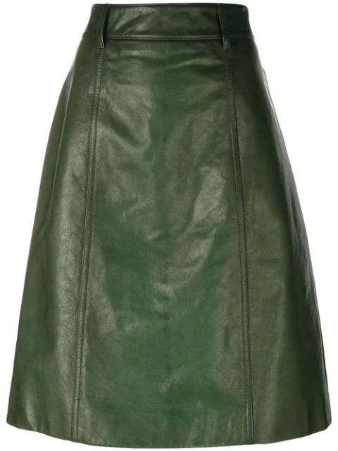 Prada Leather A-Line Skirt - Lauro In Green