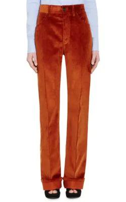 Prada Cotton Corduroy Wide-Leg Trousers In Rust