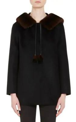 Prada Wool-Blend Coat W/Mink Fur, Black In Black,Blue