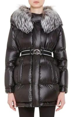 Prada Fox-Fur-Trimmed Puffer Jacket - Black