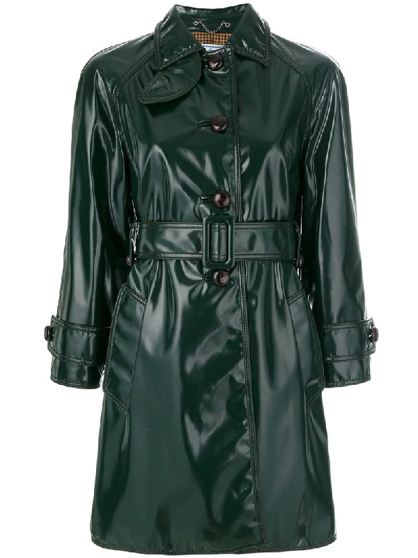 Prada Faux Patent Leather Trench Coat In Dark Green