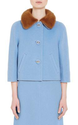 Prada Mink Fur-Trimmed Camel Jacket In Lt. Blue