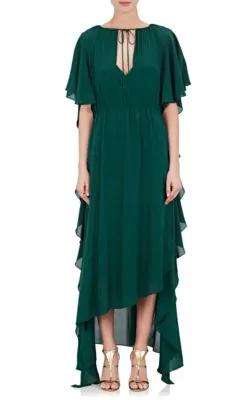 Juan Carlos Obando Short-Sleeve Silk Chiffon Gown - Green