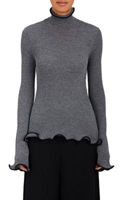 Stella Mccartney Ruffle Trimmed Turtleneck Knit In Gray