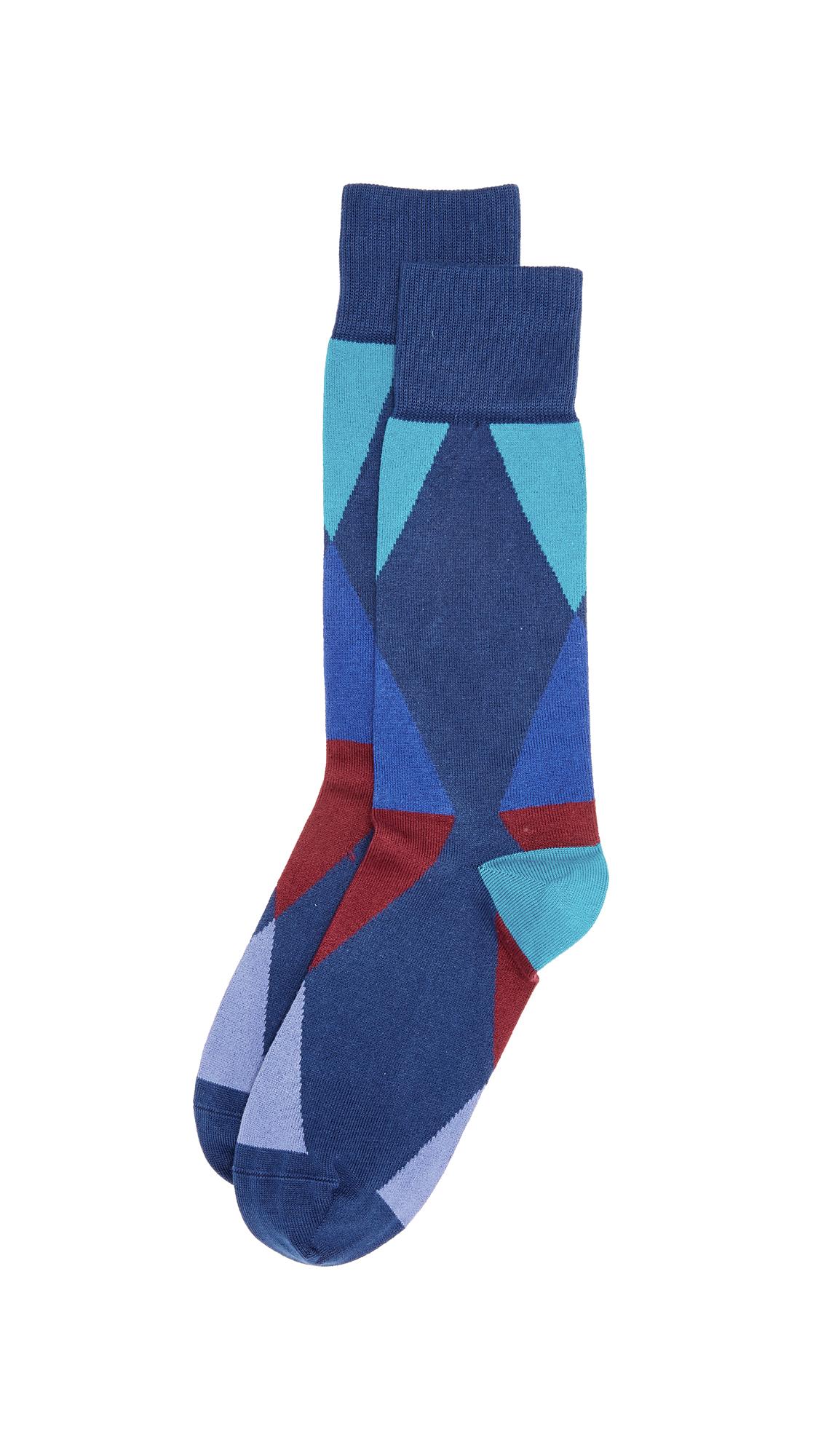 Paul Smith 'Geometric Triangle' Socks In Blue Multi