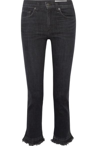 Rag & Bone Hana Cropped Frayed High-Rise Bootcut Jeans