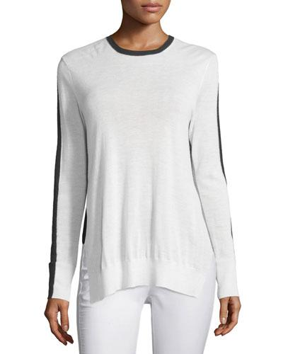 Rag & Bone Verity Two-Tone Cashmere Pullover Sweater, Ivory