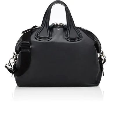 Givenchy Small Nightingale Leather Satchel With Logo Strap - Black