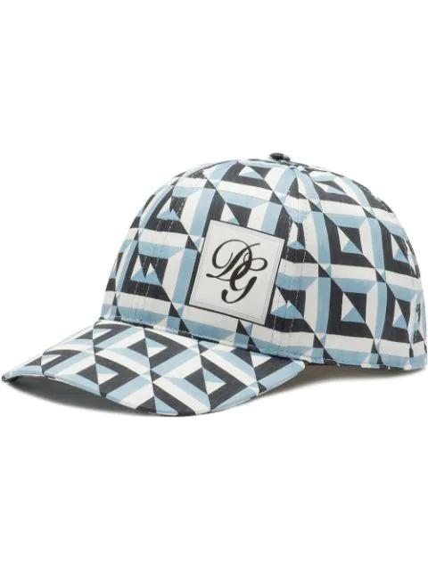 Dolce & Gabbana Geometric-pattern Baseball Cap In Blue