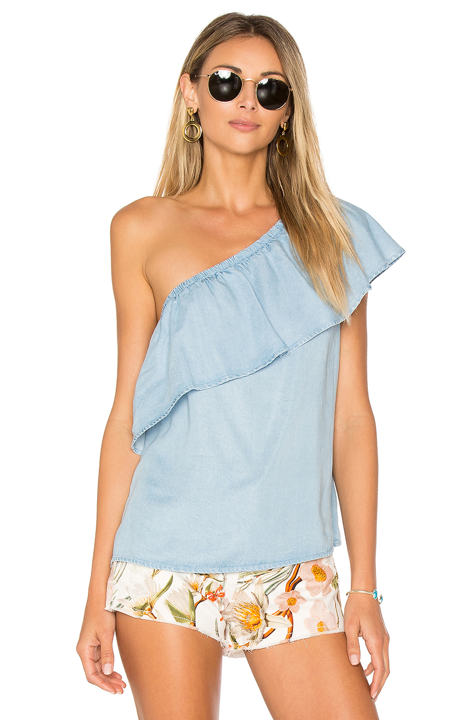 7 For All Mankind One Shoulder Top In Rio Vista Blue