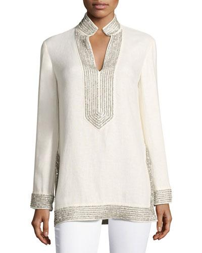 9967b551e4d Tory Burch Long-Sleeve Split-Neck Embellished Tory Tunic, White/Silver