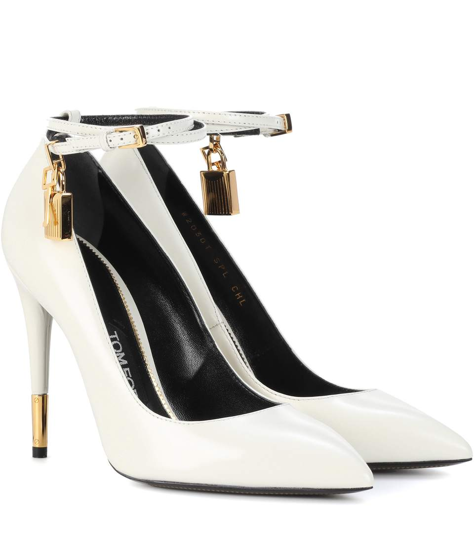 Tom Ford Padlock Leather Pumps In White
