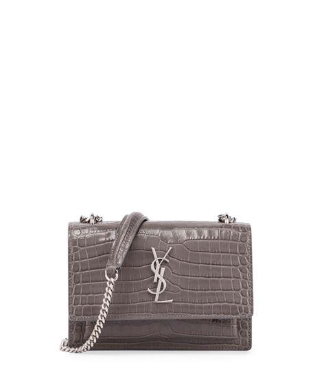 Saint Laurent Monogram Sunset Crocodile-Embossed Wallet On Chain, Gray