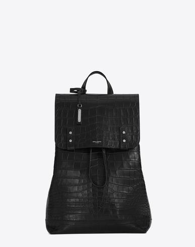 Saint Laurent Sac De Jour Backpack In Crocodile Embossed Leather In Black