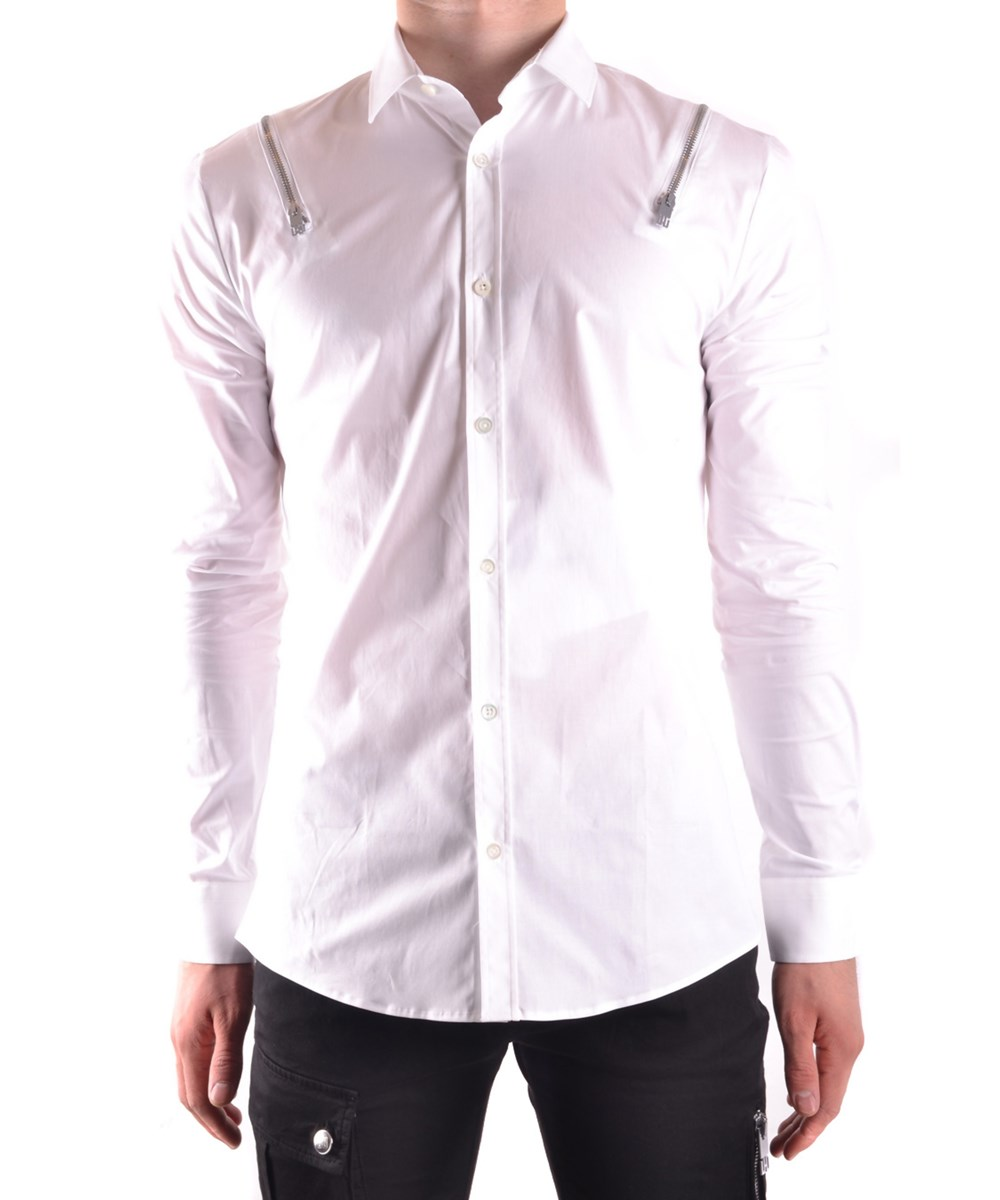 Les Hommes Men's  White Cotton Shirt