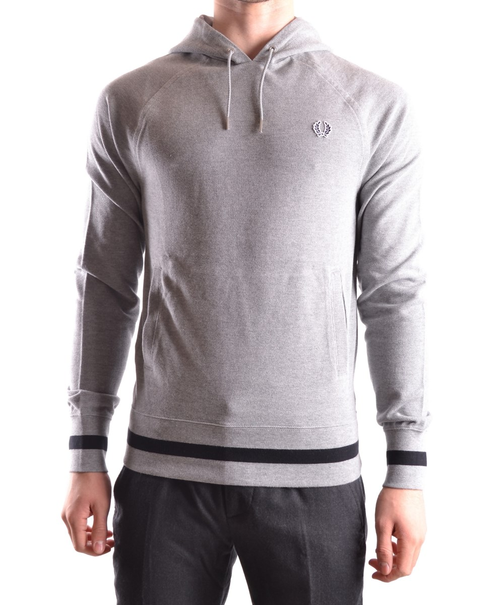 Fred Perry Men's  Grey Cotton Sweatshirt