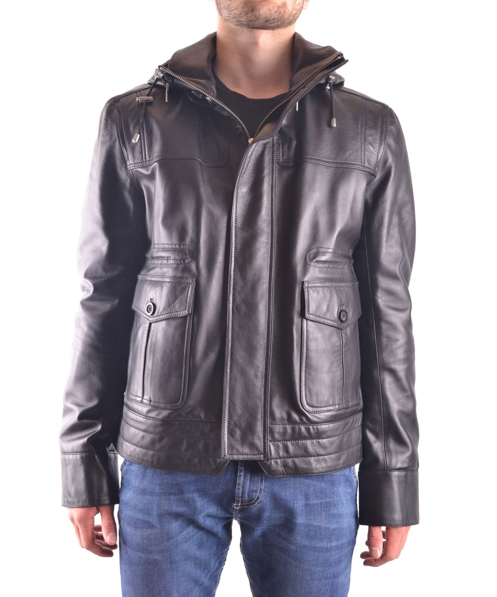 Trussardi Men's  Black Leather Outerwear Jacket