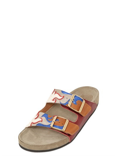 bfe466d029d Isabel Marant Red Leather 'Gail' Slide Sandals' | ModeSens