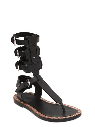 Isabel Marant Jeepy Circus Maximus Calfskin Leather Sandals In Black