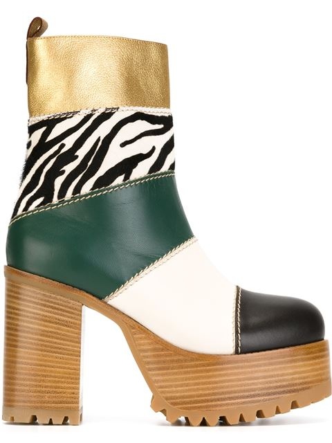 Marni Leather And Calf Hair Platform Boots