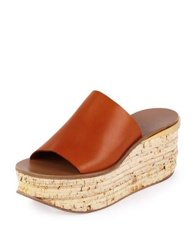 ChloÉ Leather And Cork Wedges In Brown
