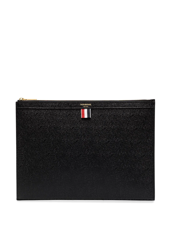 Thom Browne Black Gusset Folio Medium Leather Pouch In Schwarz
