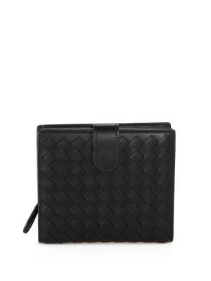 Bottega Veneta Small Intrecciato Leather Bifold Wallet, Black In Na