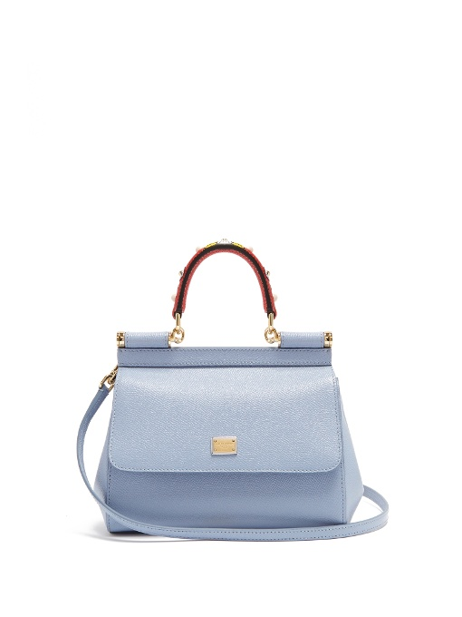 18f782a3e5a3 ... Mini Sicily Leather Bag With Embellished Handle In Blue Multi. DOLCE    GABBANA