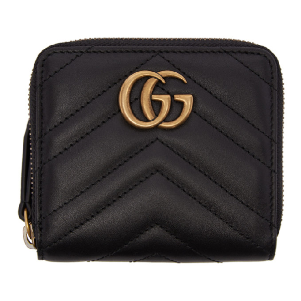 Gucci Black Mini Gg Marmont 2.0 Zip Around Wallet