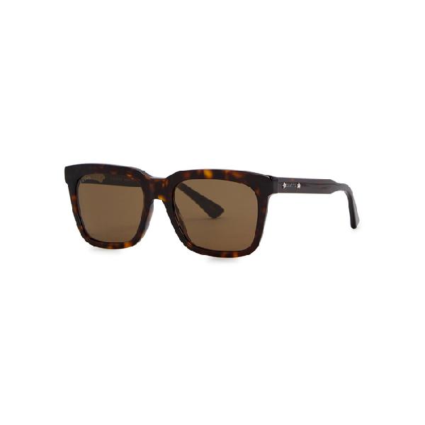 20afddd2a4 Gucci Tortoiseshell Wayfarer-Style Sunglasses In 004 Havana Ruthenium